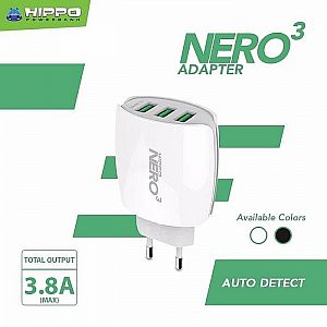 Kepala Charger Hippo Nero 3 Port USB 3.8A Adapter Charger Hp 3 Lobang Usb Hippo Original Hippo Murah