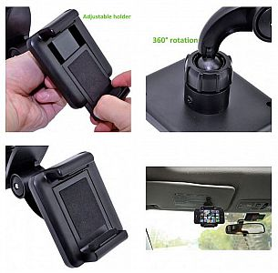 Car Holder Sun Visor XMX01 Holder HP 360 Degree HP Universal Phone Holder Dudukan HP #OMSCM0BK
